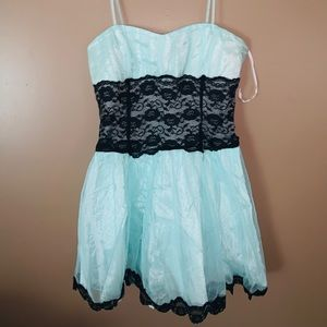 Mint and black lace dress